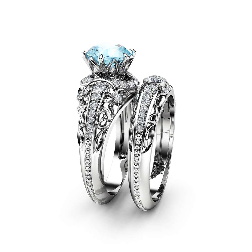 Aquamarine Engagement Ring Set 14K White Gold Diamonds Rings Aquamarine Ring and Matching Diamond Wedding Band Fine Jewelry