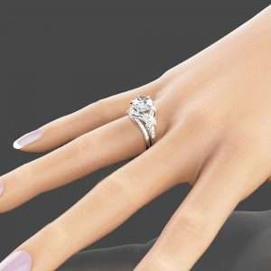 Vintage Engagement Ring Set 14K White Gold Engagement Rings Vintage 2ct Moissanite Ring with Half Eternity Band
