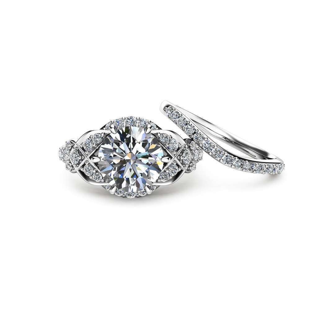 2 Carat Moissanite Wedding Ring Set in 14K White Gold Unique Engagement Rings Vintage Styled Wedding Ring Set Moissanite Engagement Rings