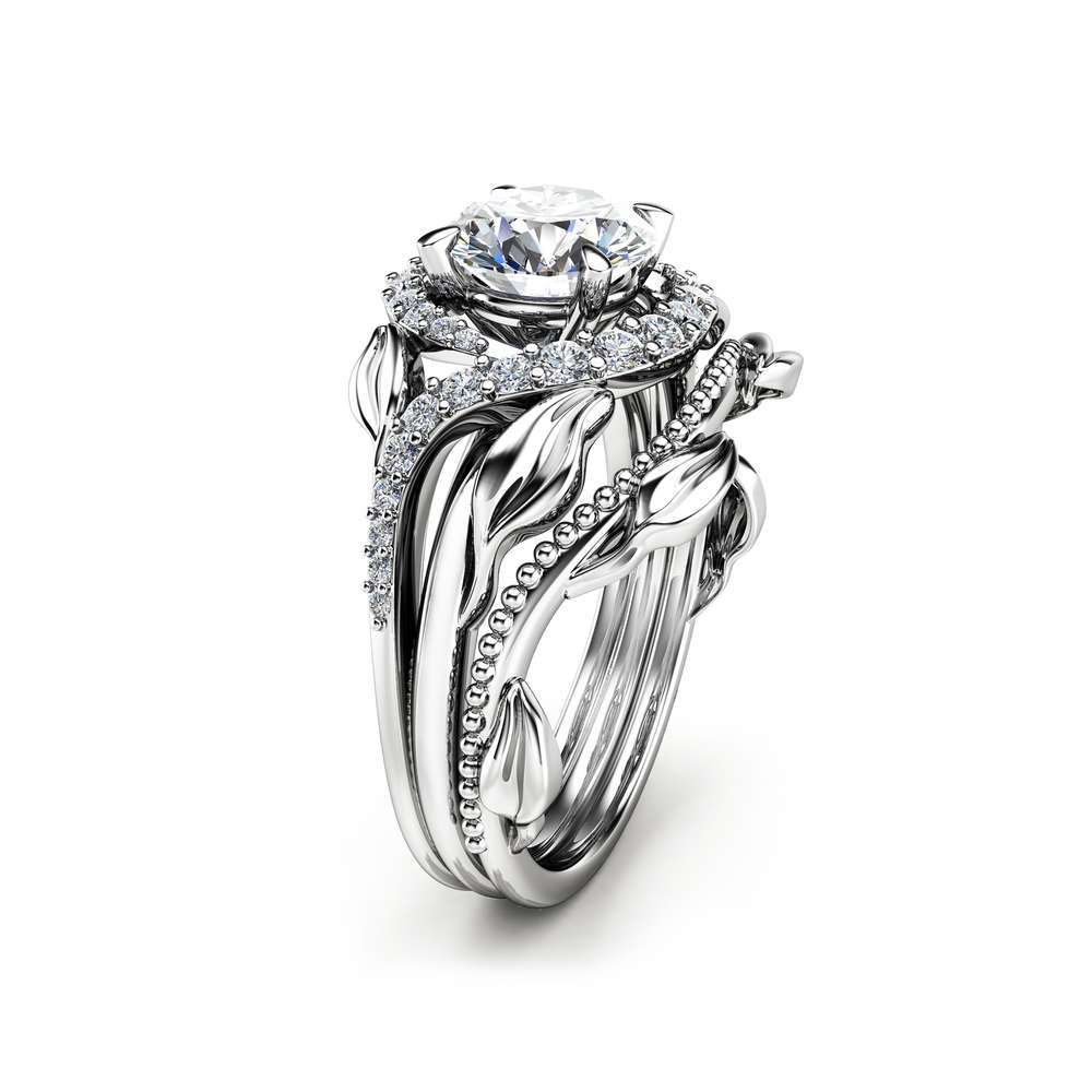 Moissanite Leaf Engagement Ring Set Moissanite Engagement Rings 14K White Gold Leaf Rings