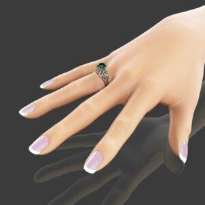 Emerald Engagement Ring in 14K White Gold Custom Engagement Ring 2 Carat Emerald Ring Unique Solitaire Ring