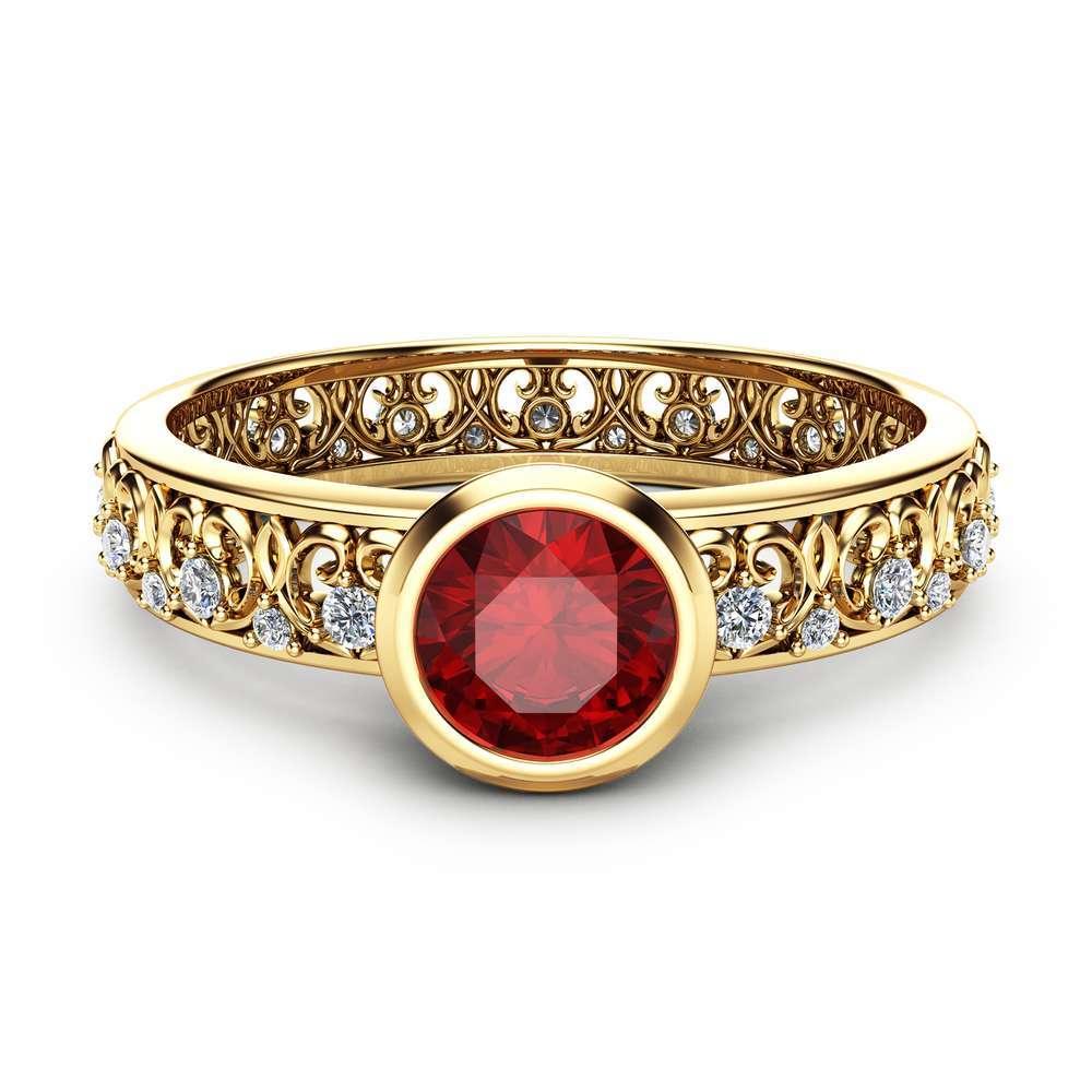 Natural Ruby Engagement Ring 14K Yellow Gold Vintage Ring Unique Bezel Engagement Ring Vintage Ruby Ring