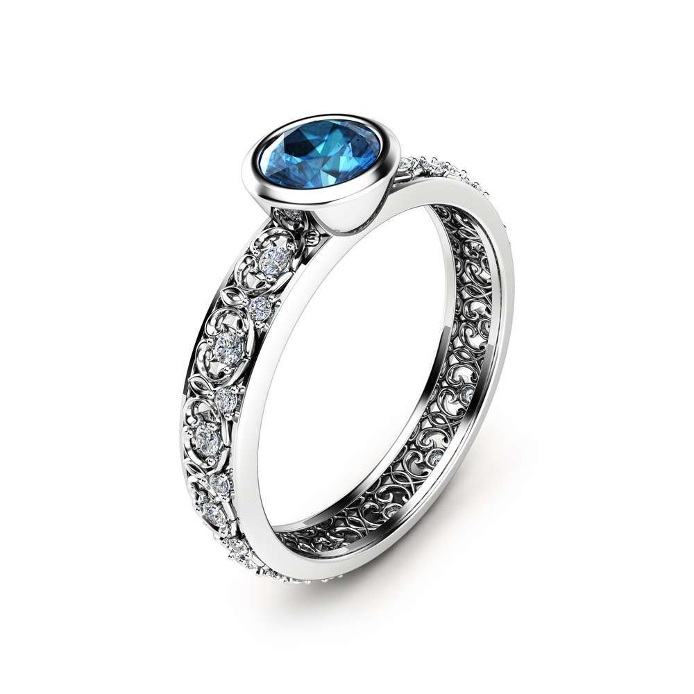 London Blue Topaz Engagement Ring 14K White Gold Vintage Ring Unique Bezel Engagement Ring Vintage Topaz Ring