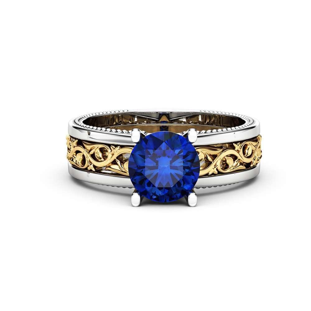 1.5 carat Blue Sapphire Engagement Ring Gemstone Engagement Ring 14K Two Tone Gold Sapphire Ring