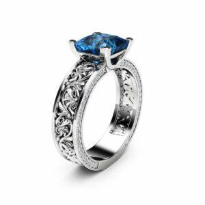 Princess Cut Topaz Engagement Ring Diamonds Topaz Filigree Ring 14K White Gold Engagement Ring