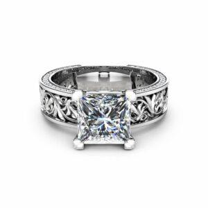 Princess Cut Moissanite Engagement Ring Diamonds Moissanite Filigree Ring 14K White Gold Engagement Ring