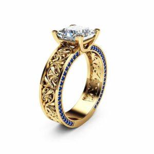 Princess Cut Moissanite Engagement Ring Sapphires Moissanite Filigree Ring 14K Yellow Gold Engagement Ring