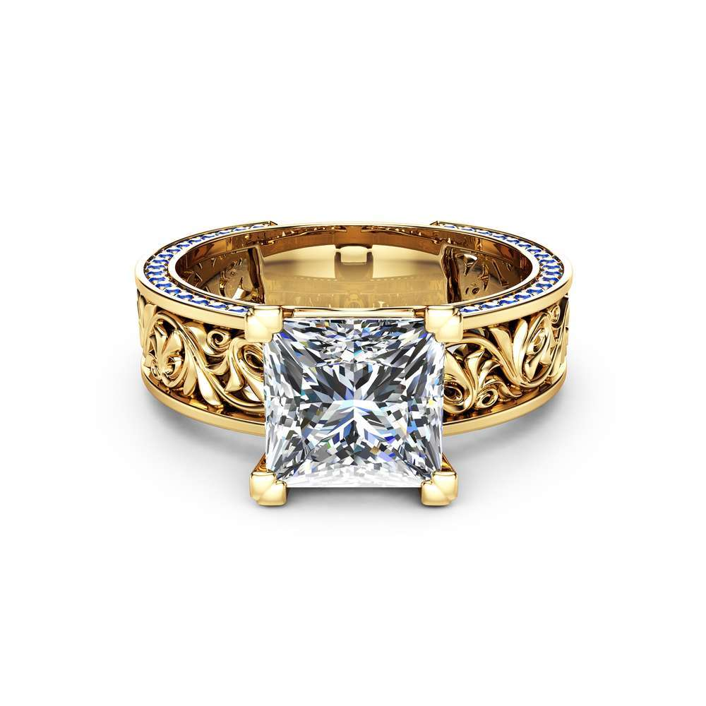 Princess Cut Moissanite Engagement Ring Sapphires Moissanite Filigree Ring 14K Yellow Gold Engagement Ring