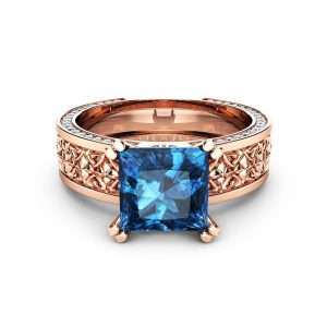 2CT Princess Topaz Engagement Ring Square Topaz Ring 14K Rose Gold Engagement Ring