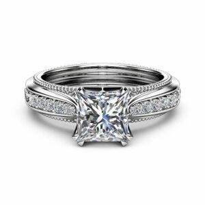 Victorian Moissanite Engagement Ring 14K White Gold Engagement Ring Princess Moissanite Ring