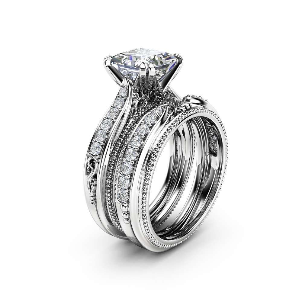 Victorian Princess Cut Moissanite Bridal Set Unique 14K White Gold Wedding Rings