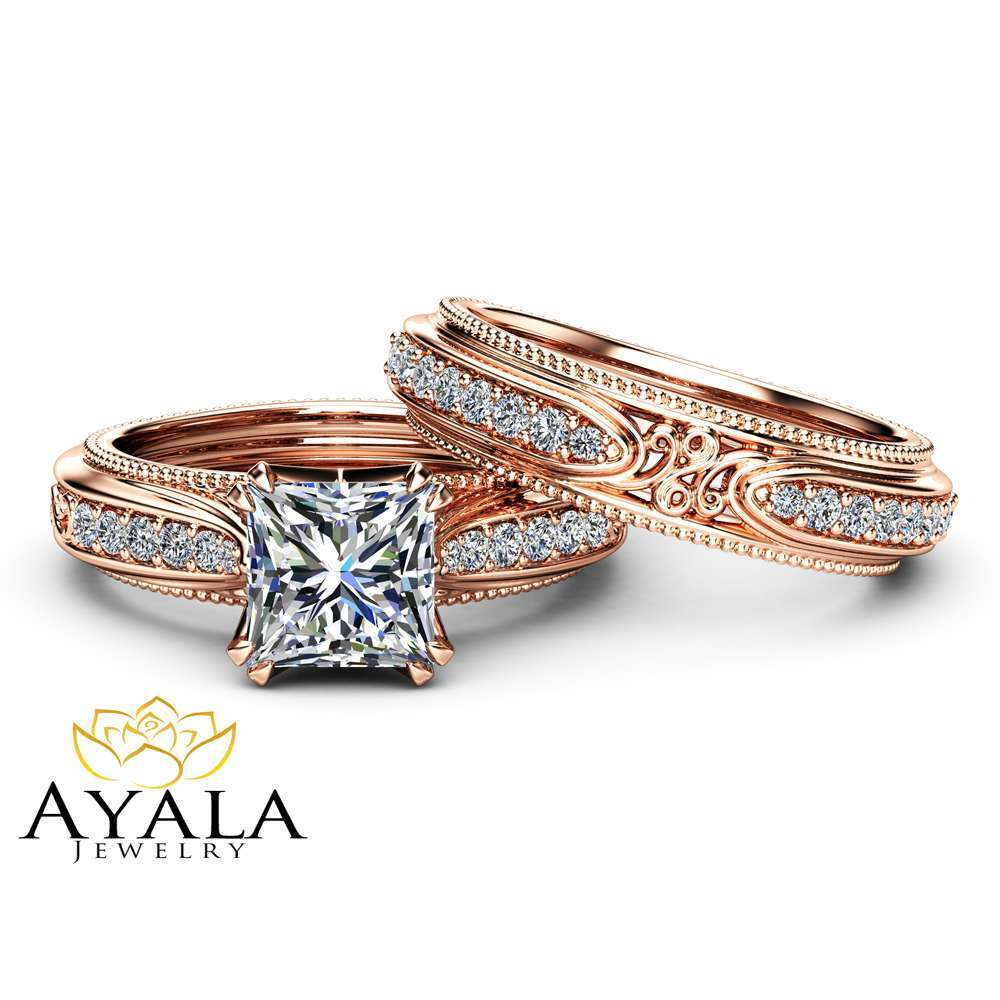 Victorian Princess Cut Moissanite Bridal Set Unique 14K Rose Gold Wedding Rings