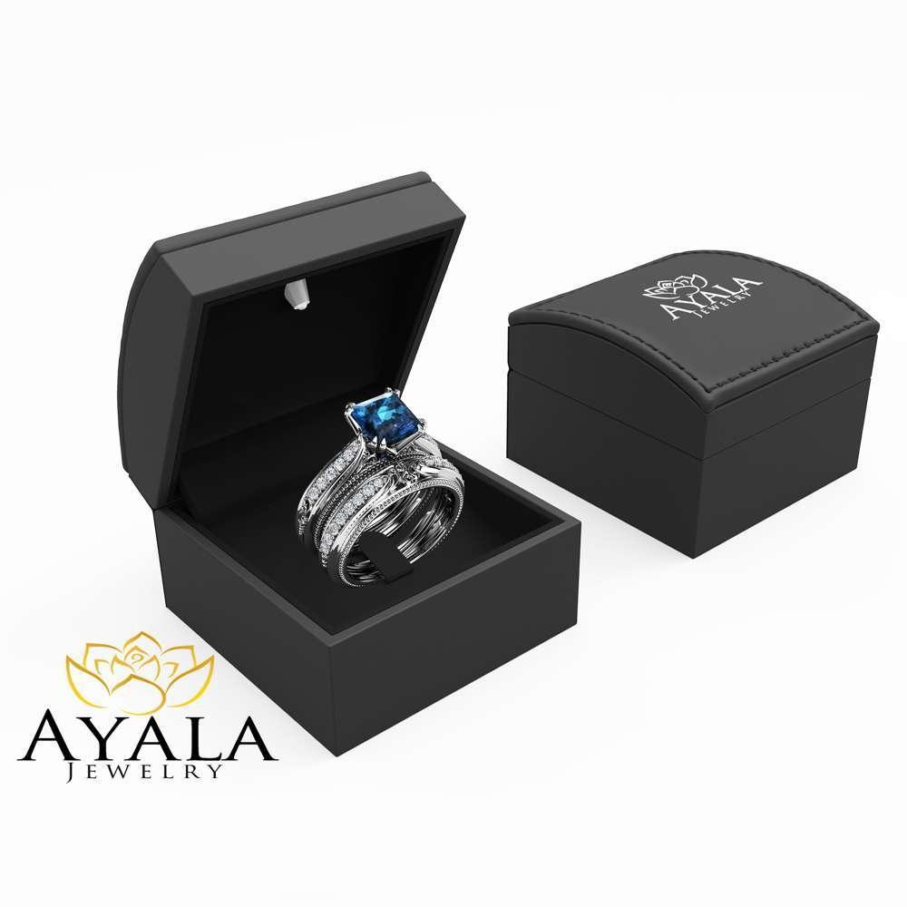 Princess Cut Blue Topaz Bridal Set 14K White Gold Wedding Ring Set Natural Diamonds Matching Rings