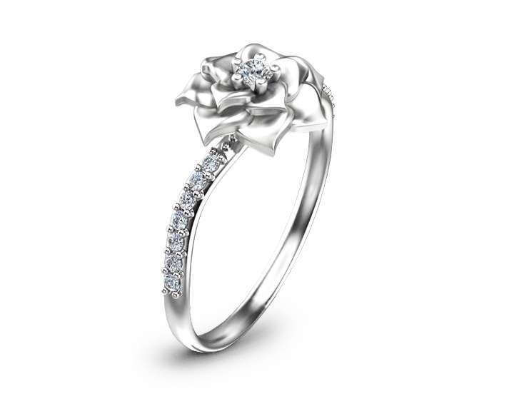 Flower Design Diamond Engagement Ring Unique 14K White Gold Ring Nature Inspired Engagement Ring