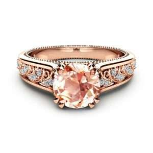 Morganite Vintage Engagement Ring Unique 14K Rose Gold Engagement Ring Diamond Morganite Vintage Ring