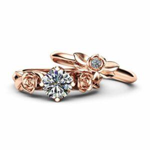Moissanite Rose Engagement Ring 14K Rose Gold Bridal Set