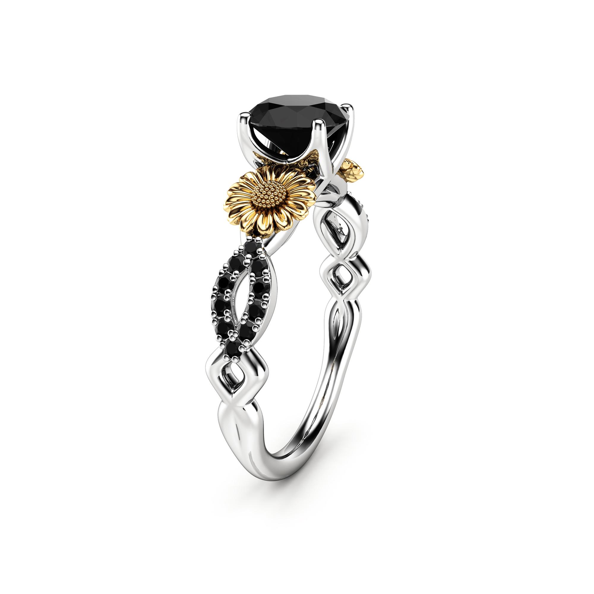 Natural Black Diamond In 14k Gold Sunflower Engagement Ring Sunflower Ring For Women Unique Flower Ring Black Diamond Engagement Ring Camellia Jewelry