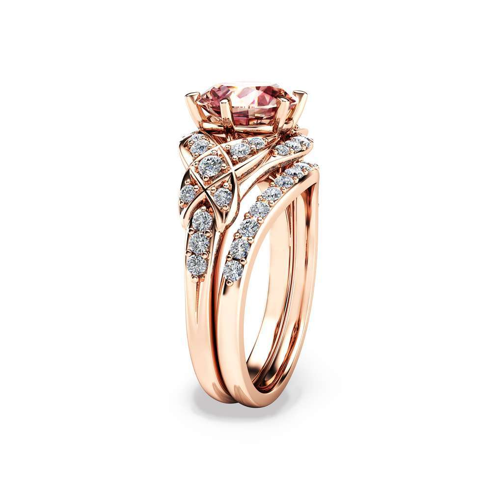 14k Rose Gold Engagement Ring Rose Gold Morganite Wedding Rings Set Peach Pink Morganite Engagement Ring Unique Vintage Engagement Rings Camellia Jewelry