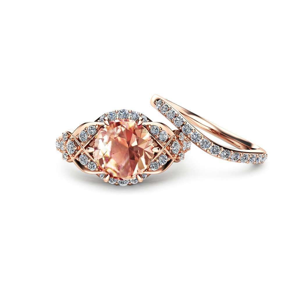 14K Rose Gold Engagement Ring Rose Gold Morganite Wedding Rings Set Peach Pink Morganite Engagement Ring Unique Vintage Engagement Rings