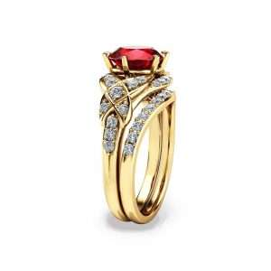 Unique Ruby Engagement Ring Set 14K Yellow Gold Rings Alternative Engagement Rings