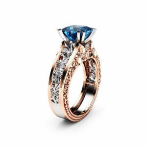 Princess Blue Diamond Engagement Ring 1.5 Carat Square Diamond Ring Unique 14K Two Tone Gold Engagement Ring