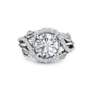 1.55CT Moissanite Wedding Engagement Ring 14K White Gold Engagement Ring Forever One Moissanite Wedding Ring
