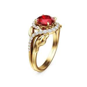 40th Anniversary Natural Ruby Rings Camellia Jewelry Promise Engagement Rings 14K Yellow Gold Wedding Ring July Birthstone