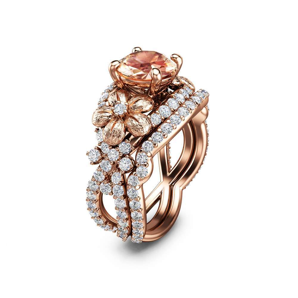 Morganite Flower Engagement Ring Set 14K Rose Gold Morganite Diamond Rings Flower Engagement Rings