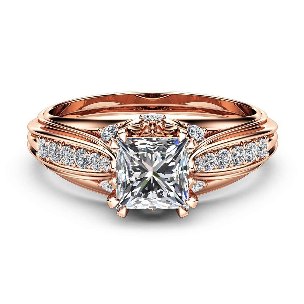 Moissanite Victorian Engagement Ring Princess Moissanite Engagement Ring 14K Rose Gold Victorian Ring