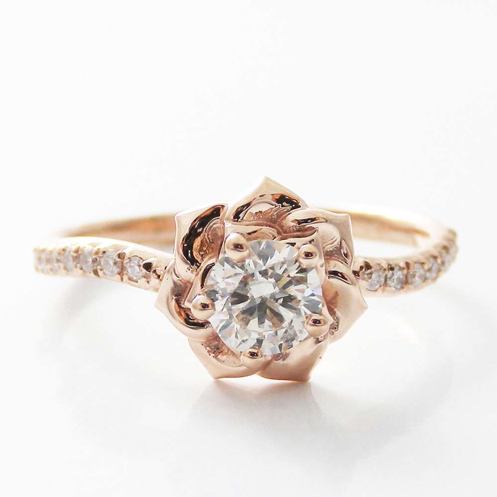 Engagement Rings Sale Rose Gold: 14K Rose Gold Diamond Engagement Ring 0.40ct Natural