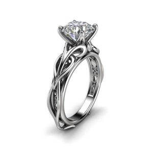 Solitaire 2CT Moissanite Engagement Ring 14K White Gold Moissanite Ring Swirl Design Engagement Ring