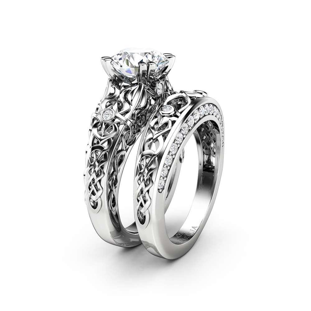 Forever One 2 Carat Moissanite Engagement Ring Set-Moissanite Bridal rings Set-14K White Gold Engagement Rings