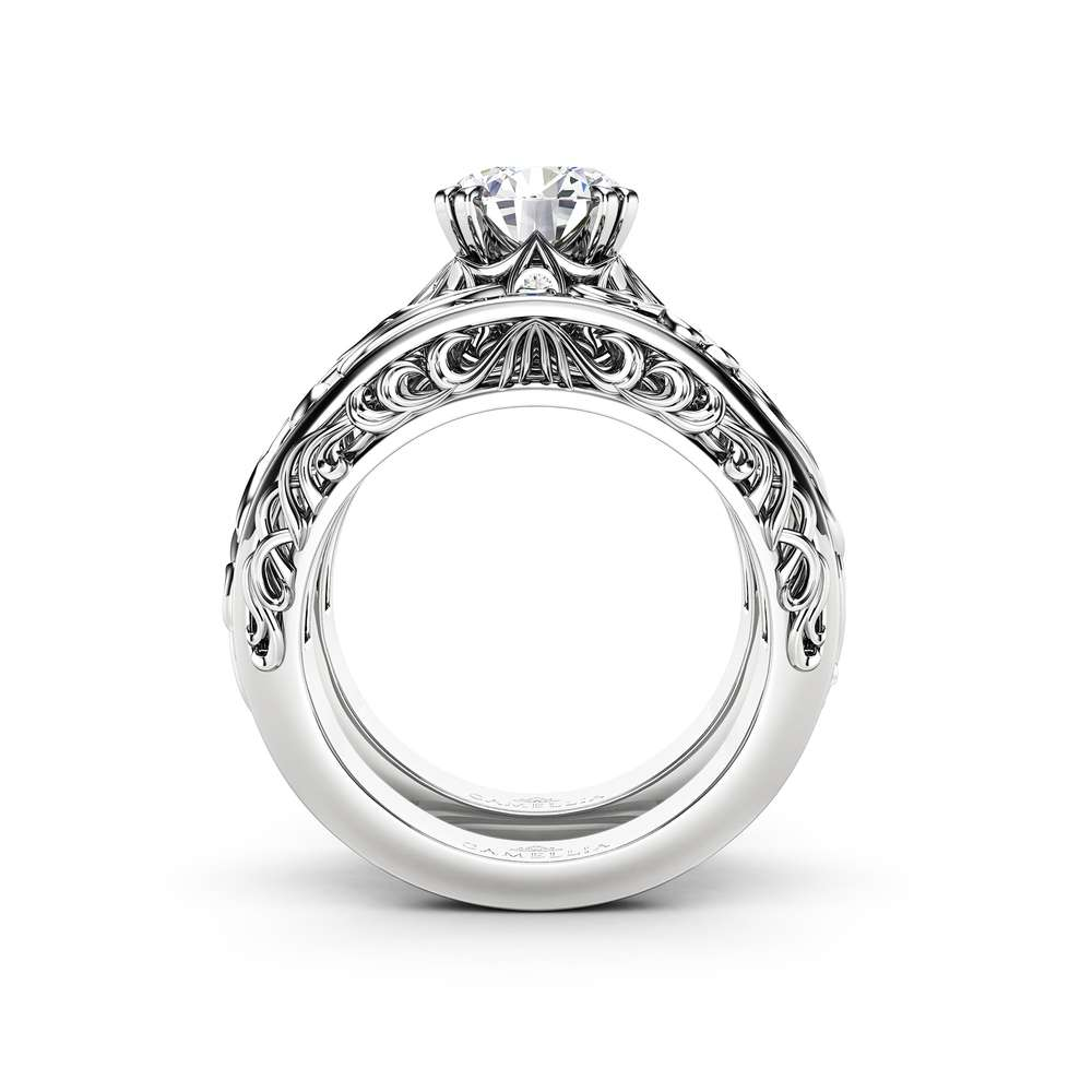 Vintage 2 Carat Moissanite Forever One Engagement Ring Set Art Deco Ring Bridal Rings