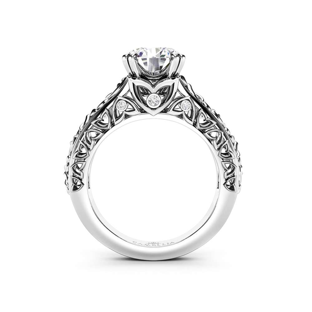 Vintage Moissanite Engagement Ring with Matching Diamonds Band, Forever One 2 CT Moissanite, 14K White Gold Engagement Rings set