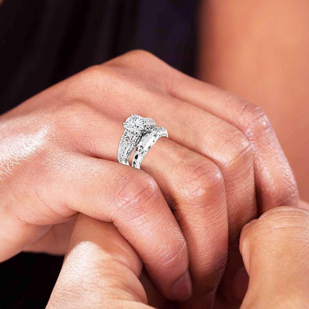 2 Carat Moissanite Engagement Ring Set, Forever One Moissanite, Bridal Set, Unique 14K White Gold Engagement Rings