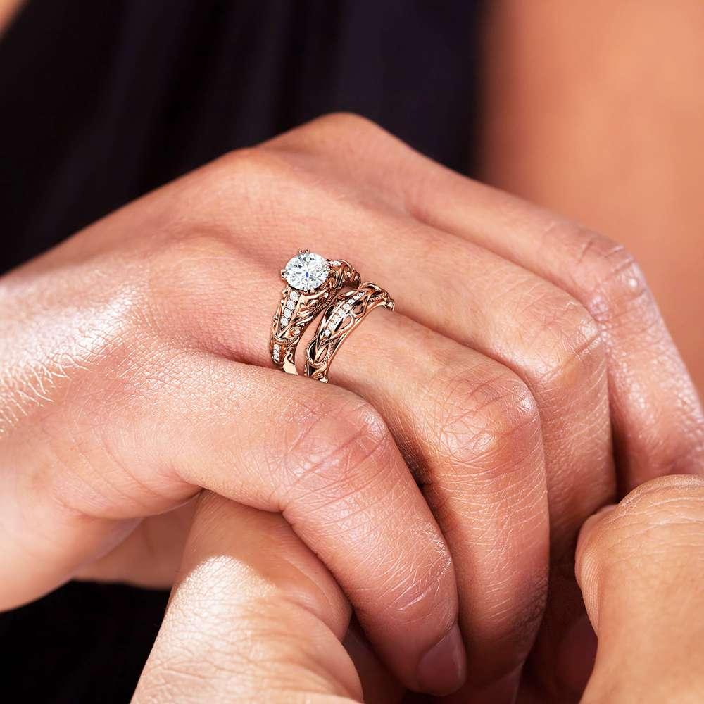 1.55 Carat Moissanite Engagement Ring Set Forever One Moissanite Bridal Set Unique 14K Rose Gold Engagement Rings
