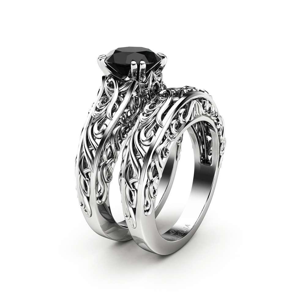 Vintage Black Diamond Engagement Ring Set 2 CT Black Diamond Art Deco Ring Bridal Rings
