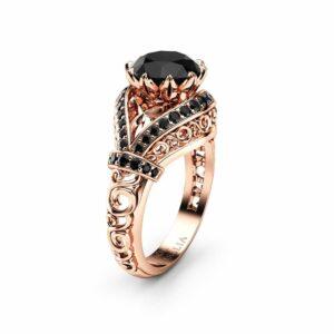 Black Diamond Engagement Ring, 14K Rose Gold Ring, Edwardian Unique Ring
