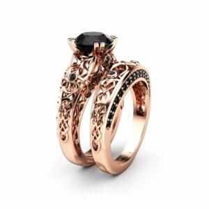 Black Diamonds Wedding Ring Set, Engagement Ring Set 14K Rose Gold Vintage Rings