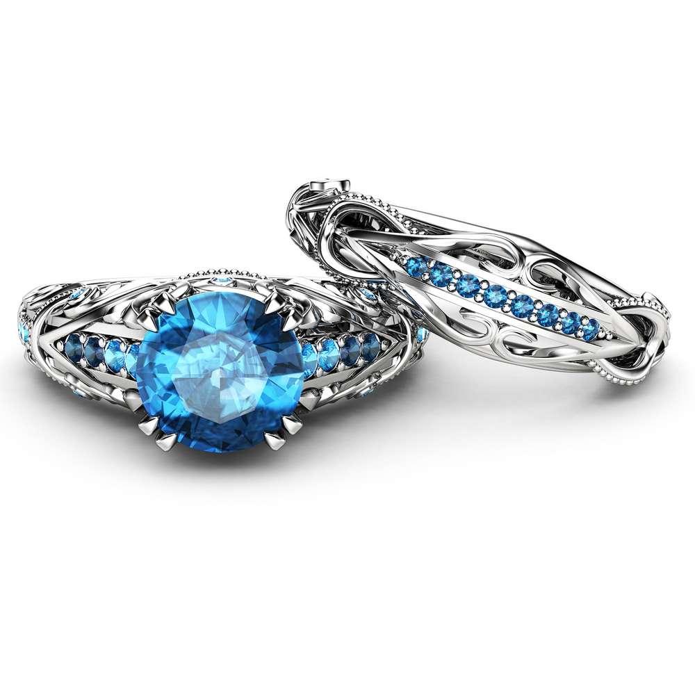 Unique Blue Diamond Engagement Ring Set White Gold Ring Filigree Ring Blue Diamonds Engagement Ring