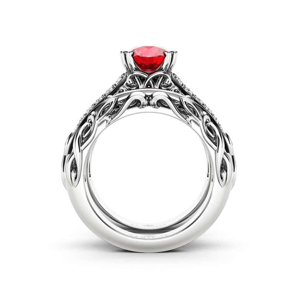 Natural Ruby Engagement Ring and Wedding Band 14K White Gold. Unique Natural Ruby Engagement Ring with Natural Diamonds