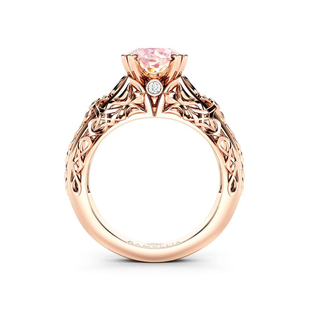 2CT Morganite Engagement Ring 14K Rose Gold Morganite Ring Unique Filigree Engagement Ring