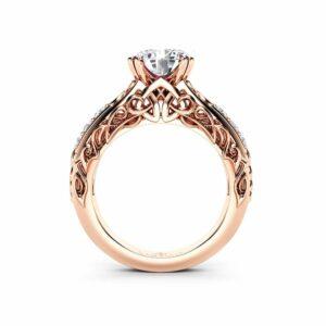 2 Carat Moissanite Engagement Ring Set, Forever One Moissanite, Bridal Set, Unique 14K Rose Gold Engagement Rings