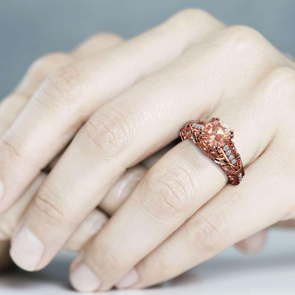 unique morganite Engagement Ring 14K Rose Gold Vintage Ring Pink Gemstone Wedding Ring