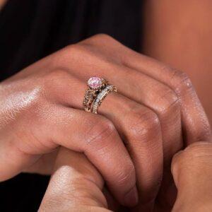 Vintage Pink Moissanite Engagement Ring with Matching Diamonds Band, 2 CT Moissanite, 14K Rose Gold Wedding Rings set