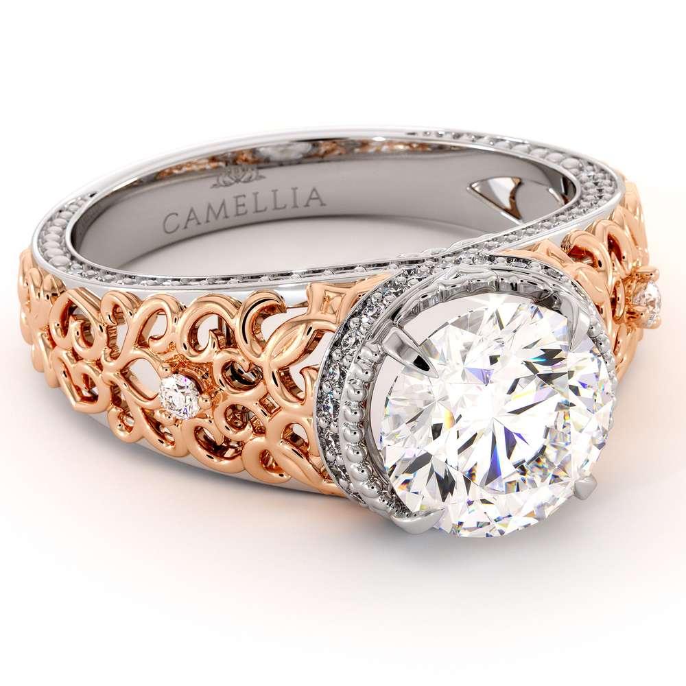 Art Deco 2 Ct Round Diamond Filigree Ring Art Deco 14K Two Tone Gold Engagement Ring