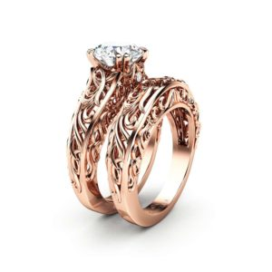 Vintage 2 Carat Moissanite Forever One Engagement Ring Set Rose gold Ring Art Deco Ring Bridal Rings