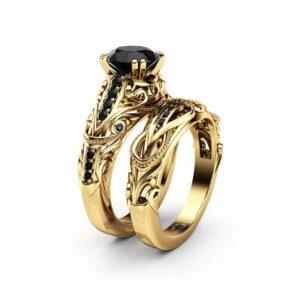 Black Diamond Engagement Ring Set 14K Yellow Gold Diamond Ring Natural Black Side Diamonds