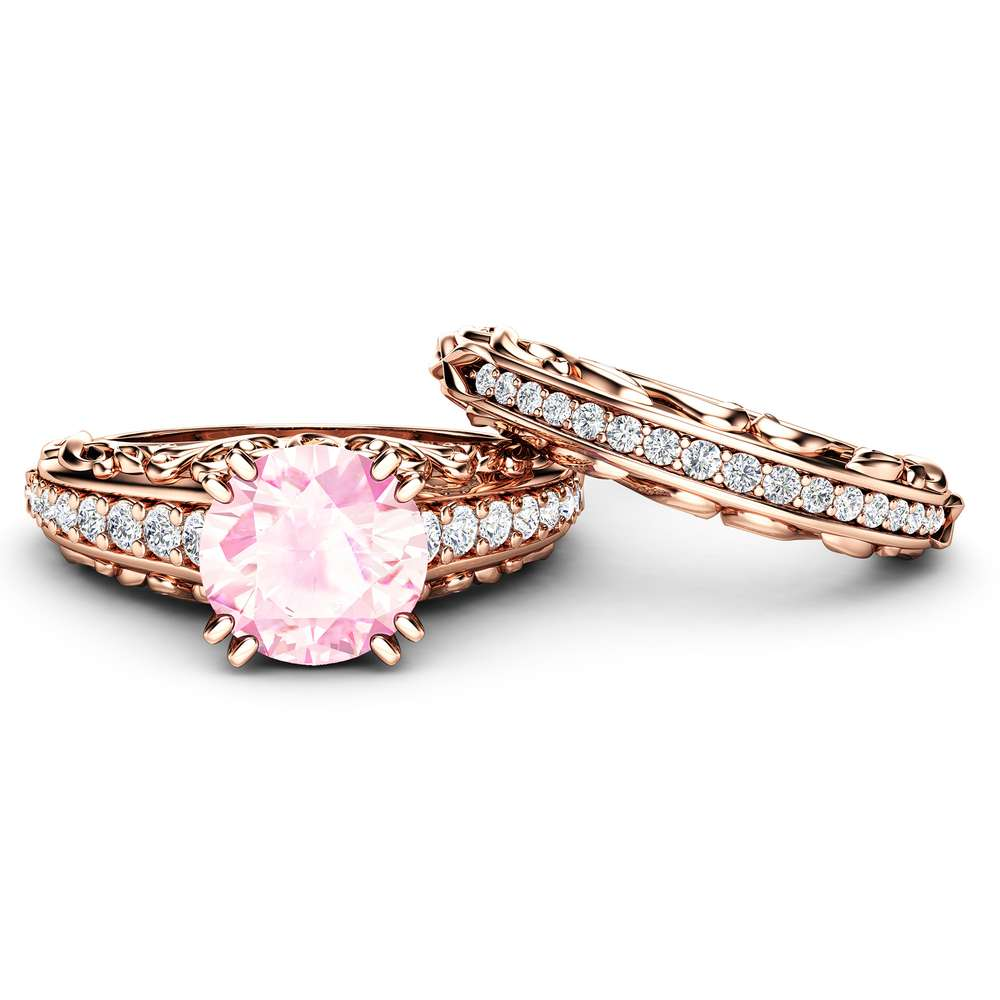 Pink Moissanite Engagement Ring and Wedding Band 14K Rose Gold. Unique Pink 2 Carat Engagement Ring with Natural Diamonds