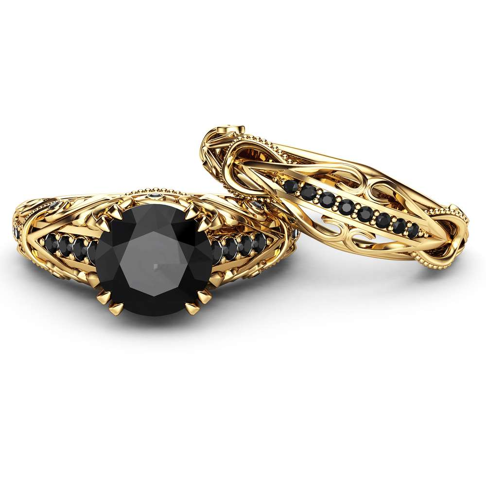 Black Diamond Engagement Ring Set 14K Yellow Gold Diamond Ring Natural Black Side Diamonds